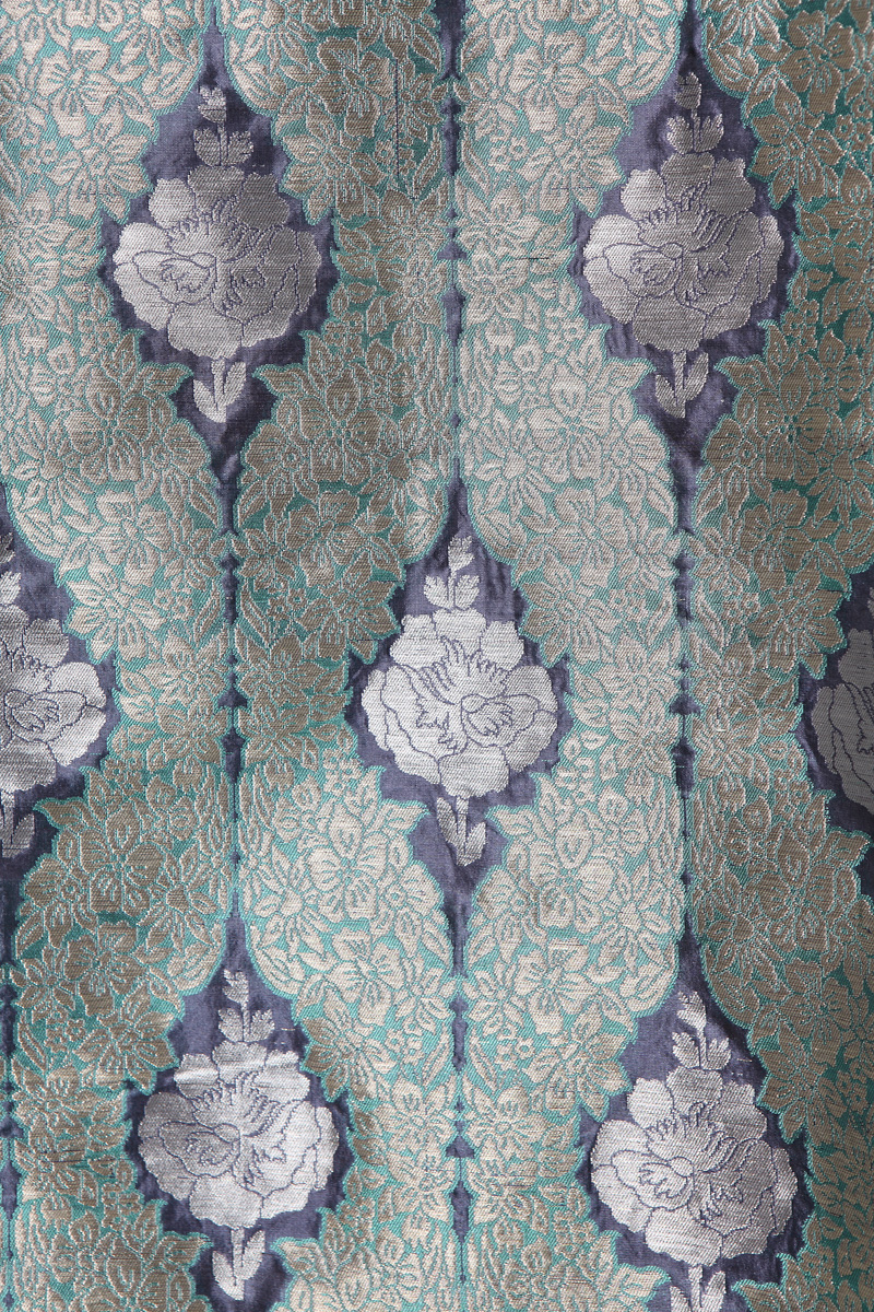 pure-hand-woven-blue-benarasi-brocade-silk-fabric-with-meenakari-jangla