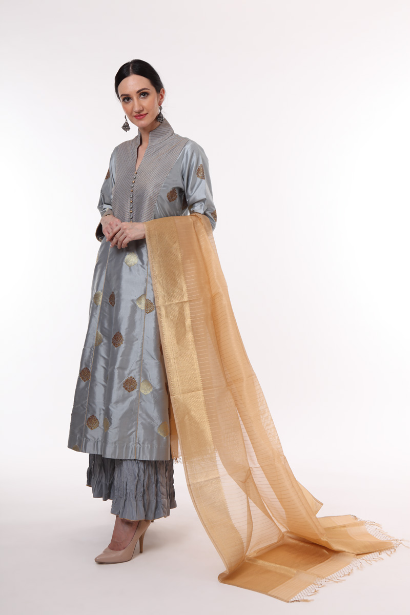 pure-hand-woven-dusty-blue-benarasi-kadhwa-buti-katan-silk-suit-set