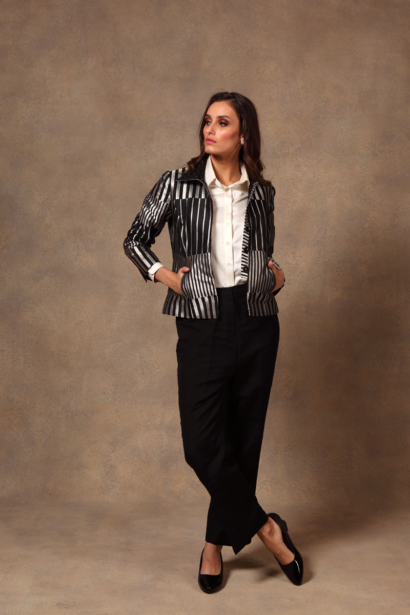black-silver-hand-woven-pure-silk-brocade-short-jacket-with-silk-pants