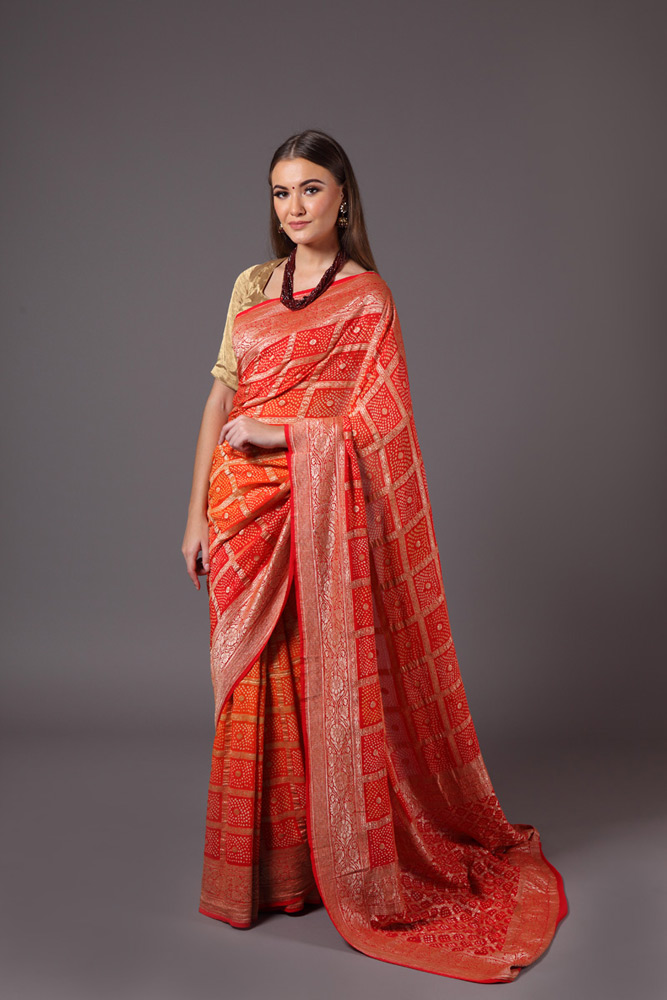 pure-hand-woven-benarasi-georgette-orange-red-bandhej-saree