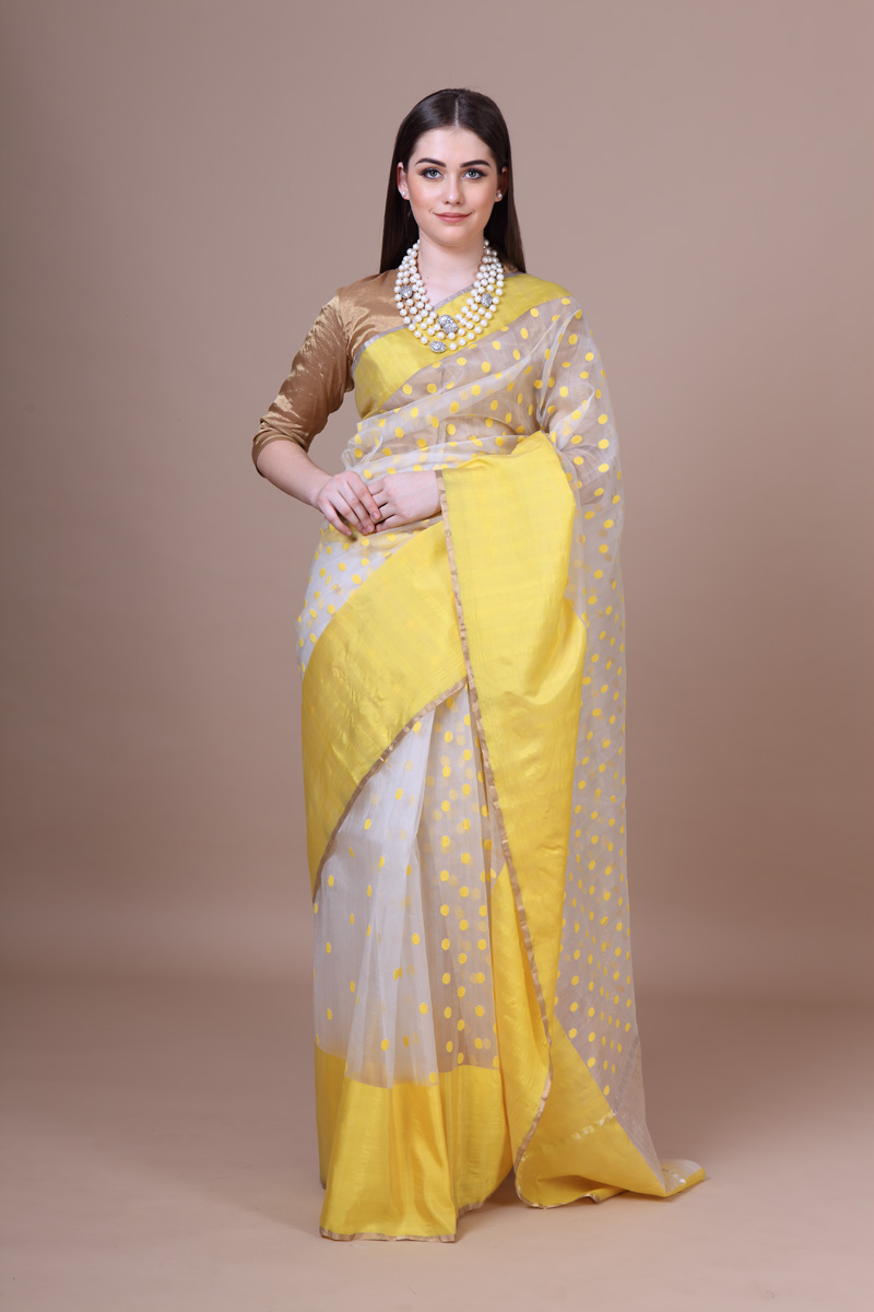 pure-hand-woven-off-white-chanderi-katan-silk-saree-with-yellow-resham-butis-border