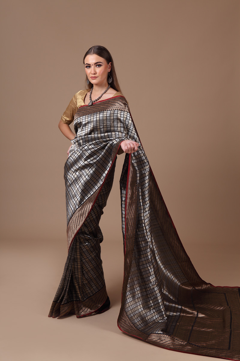pure-hand-woven-benarasi-black-katan-silk-saree-with-geometric-checks
