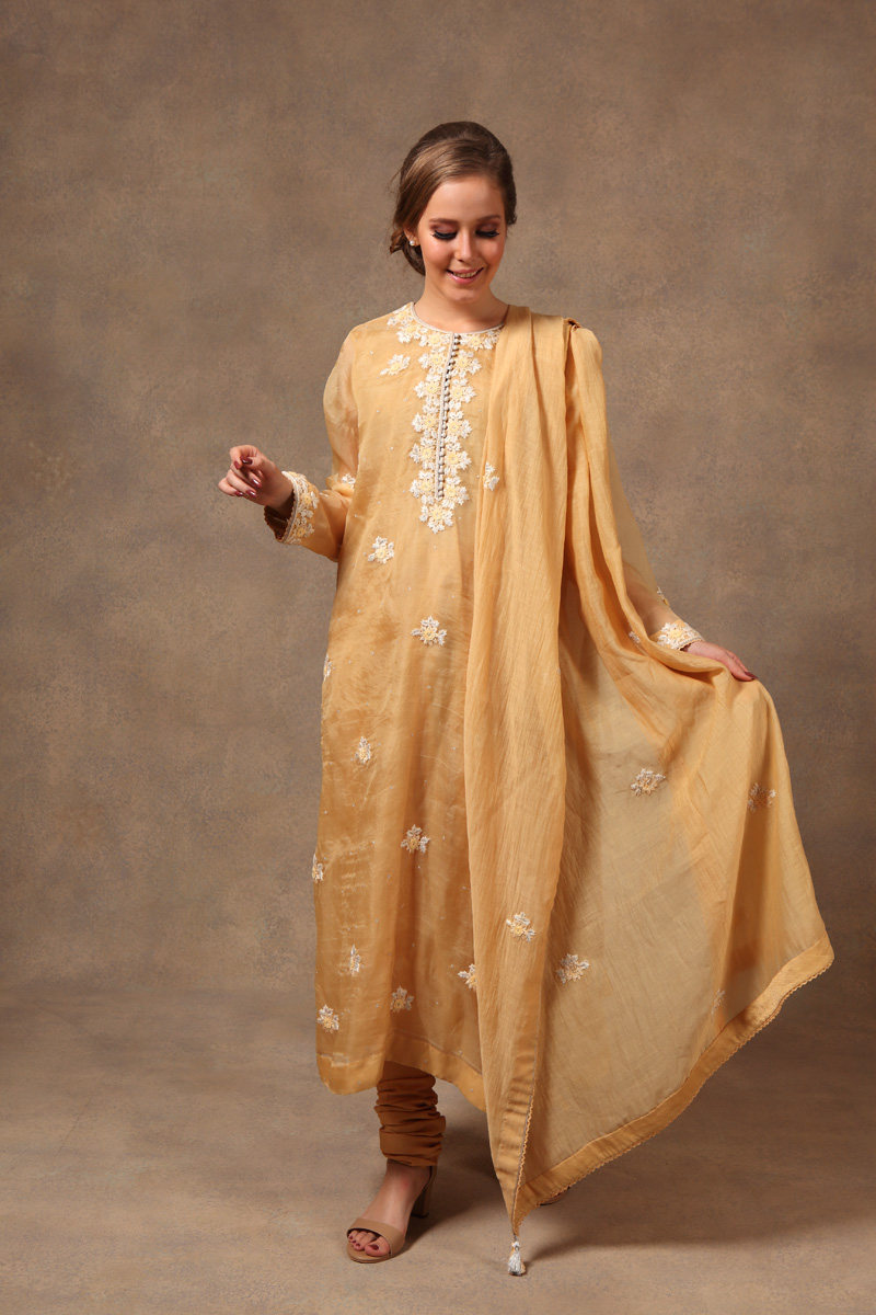 hand-embroidered-dusty-yellow-chanderi-pure-katan-silk-suit-set
