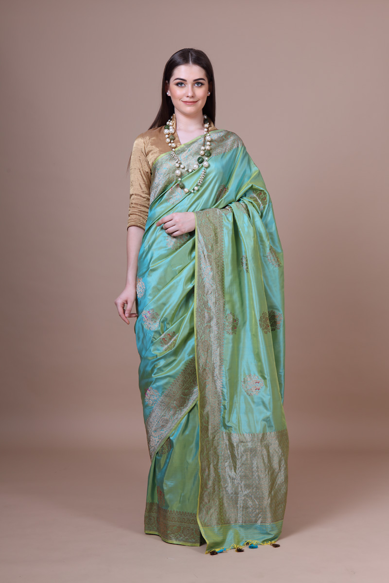 pure-hand-woven-benarasi-fern-green-katan-silk-saree-with-kadhwa-meena-butis