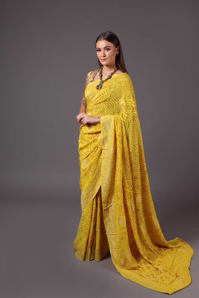 pure-hand-woven-benarasi-georgette-bright-yellow-bandhej-saree