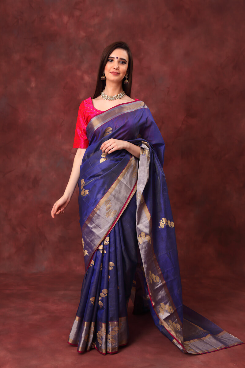 hand-woven-chanderi-indigo-blue-katan-silk-saree-with-flower-motifs