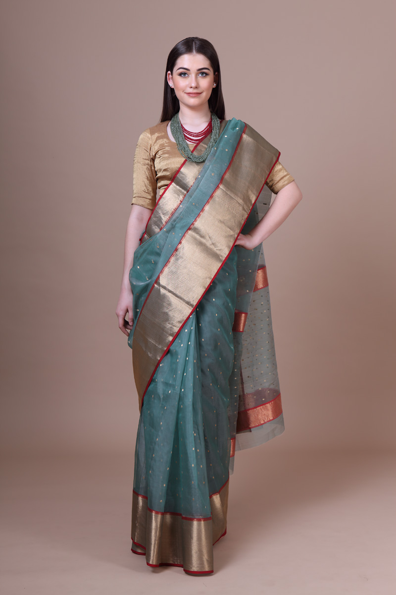 pure-hand-woven-mint-green-chanderi-katan-silk-saree-with-eknaliye-butis