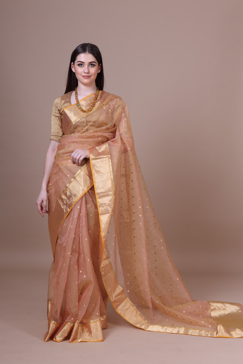 pure-hand-woven-chanderi-burnt-peach-katan-silk-saree-with-eknaliye-meena-butis