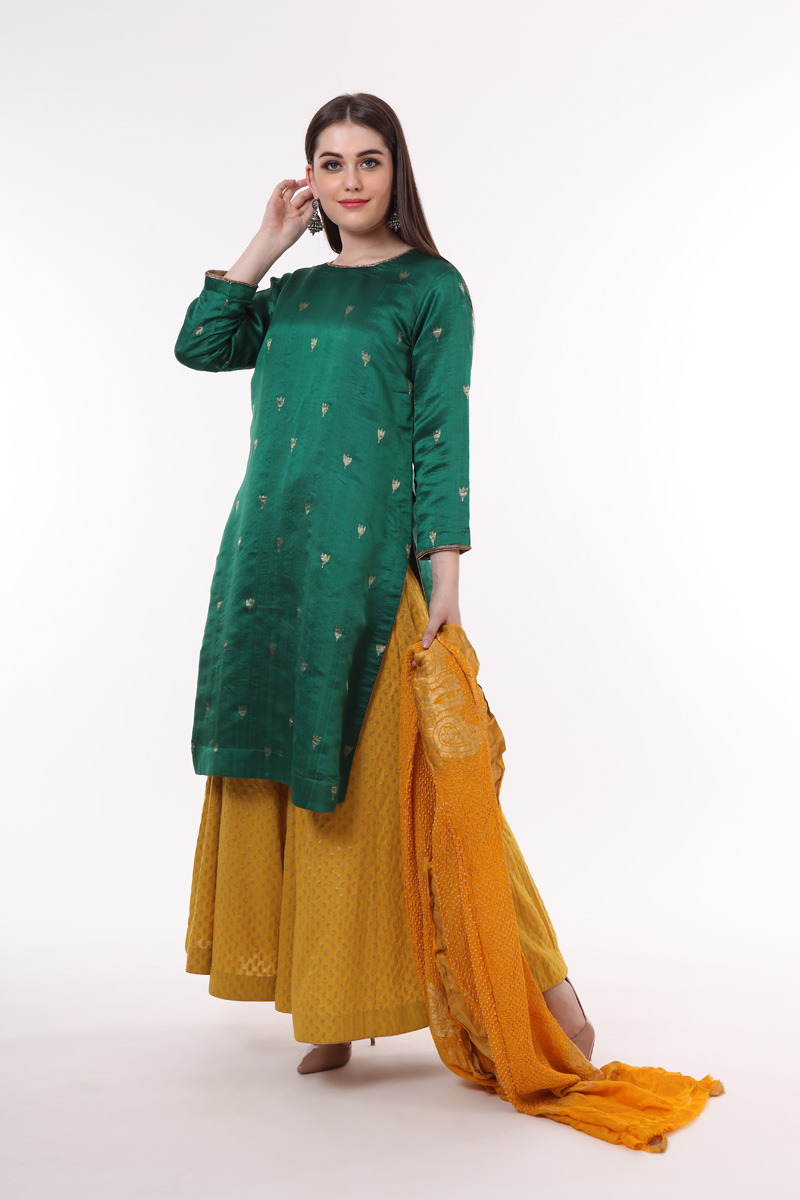 pure-hand-woven-green-chanderi-silk-kurta
