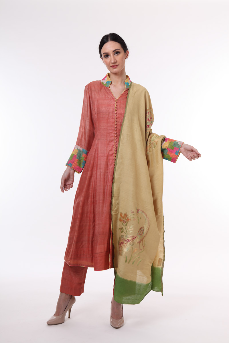 pure-hand-woven-tussar-onion-coloured-suit-set