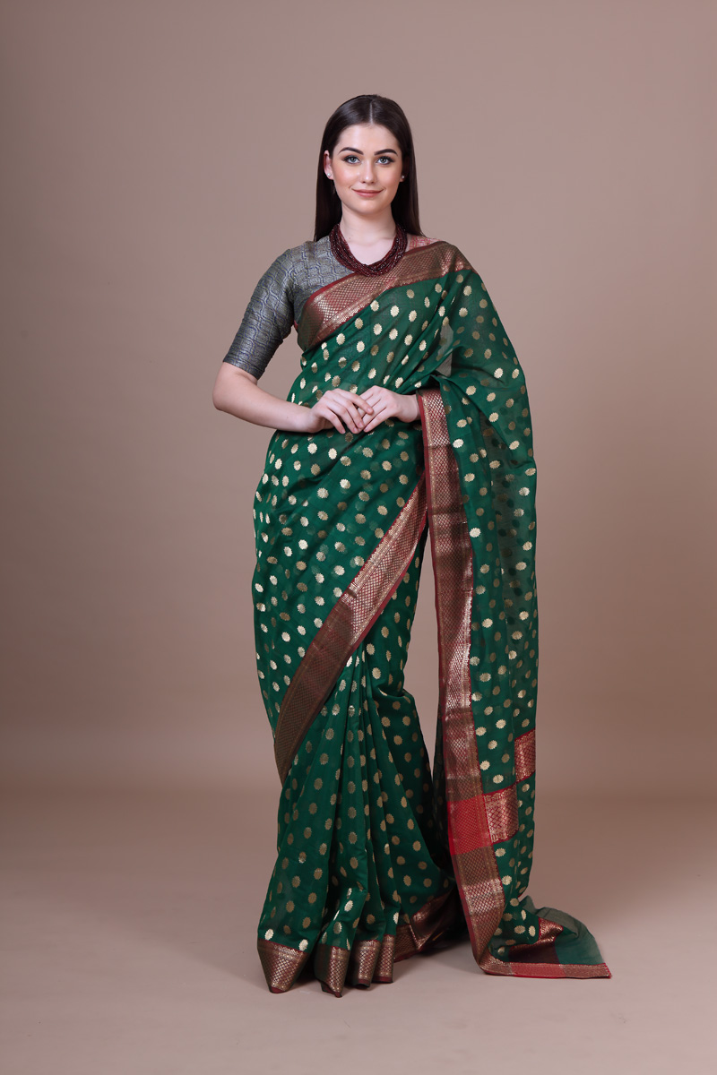 pure-hand-woven-forest-green-chanderi-silk-saree-with-all-over-eknaliye-asharfi-butis
