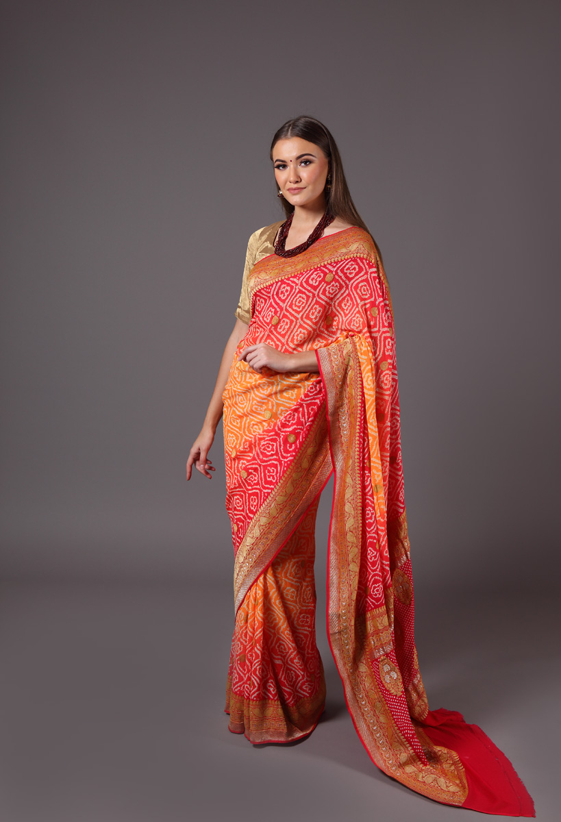 pure-hand-woven-benarasi-georgette-red-orange-bandhej-saree
