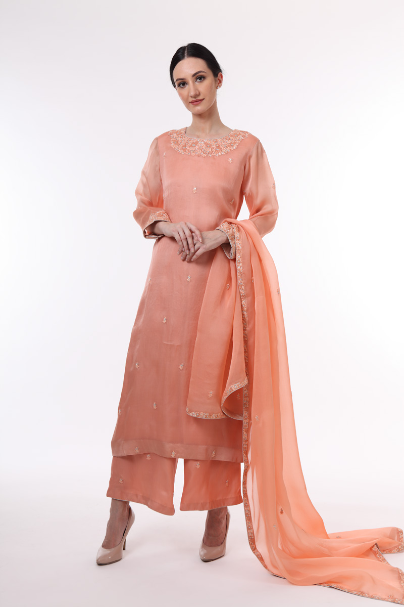 pure-silk-organza-coral-peach-suit-set