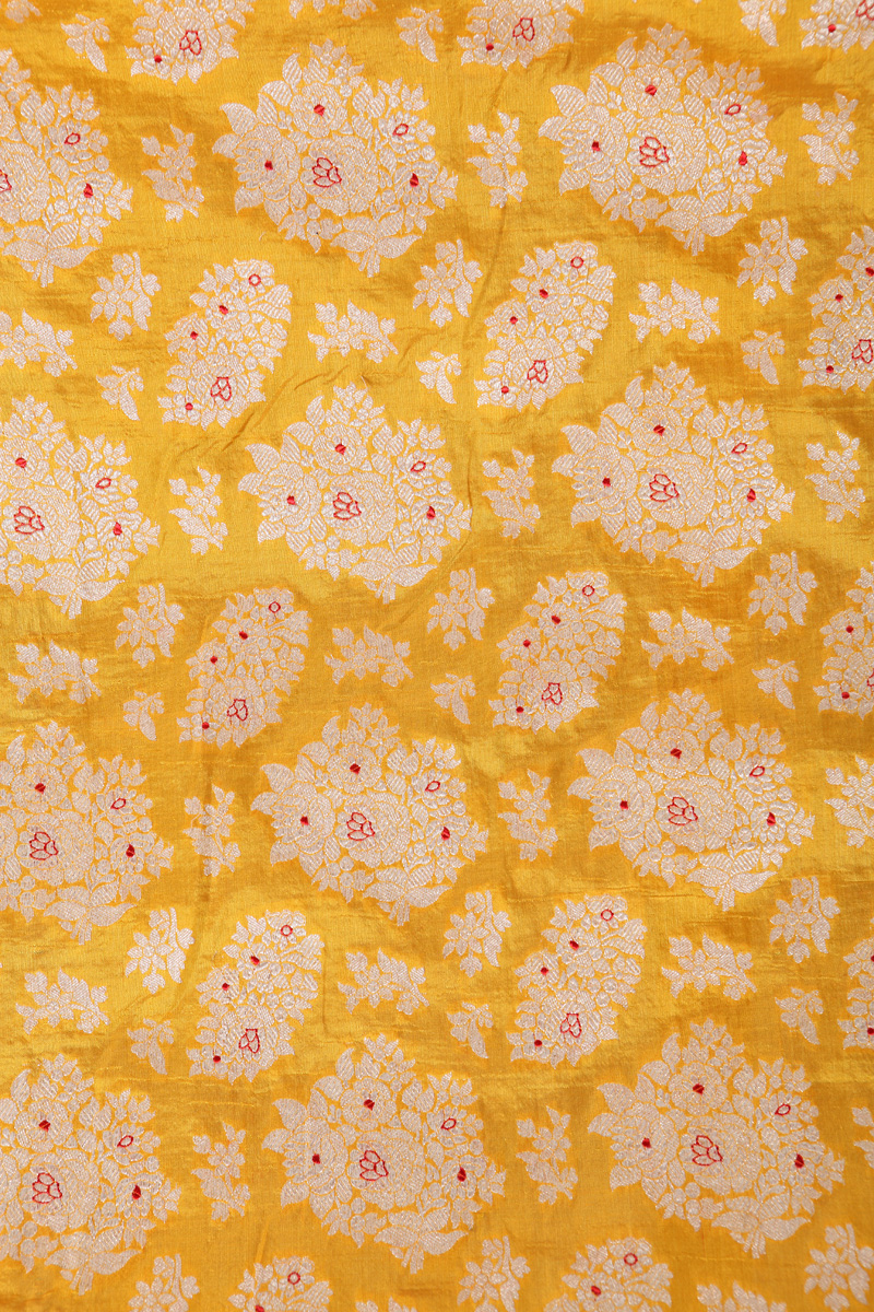 pure-hand-woven-yellow-benarasi-katan-silk-fabric-with-meena-butis