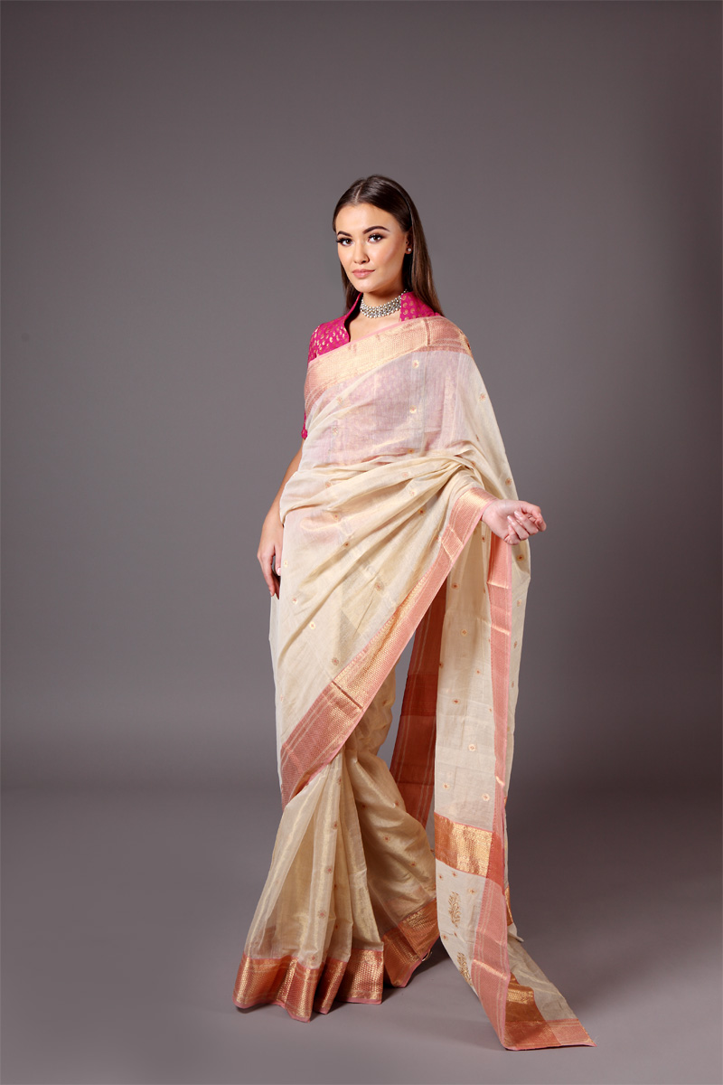 pure-hand-woven-beige-chanderi-tissue-muslin-silk-saree-with-eknaliye-butis