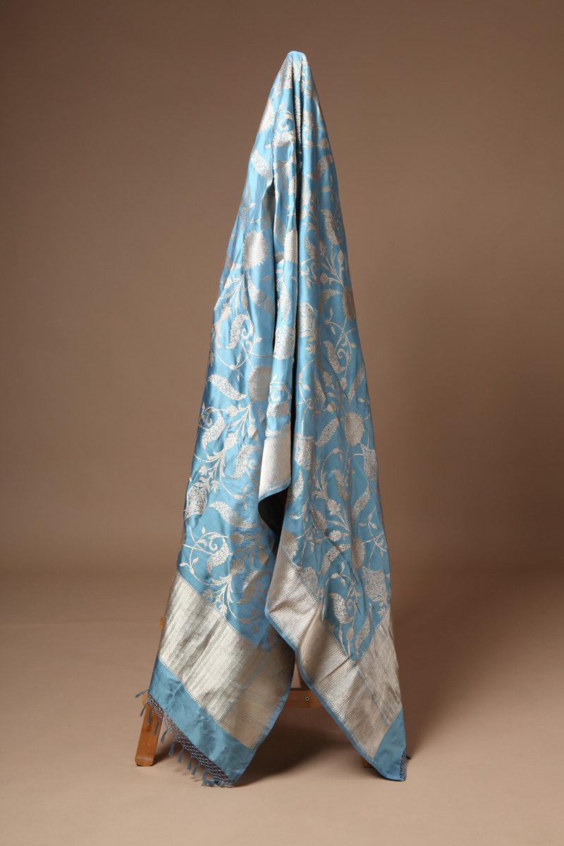 pure-hand-woven-blue-grey-benarasi-katan-silk-dupatta-with-kadhwa-jangla
