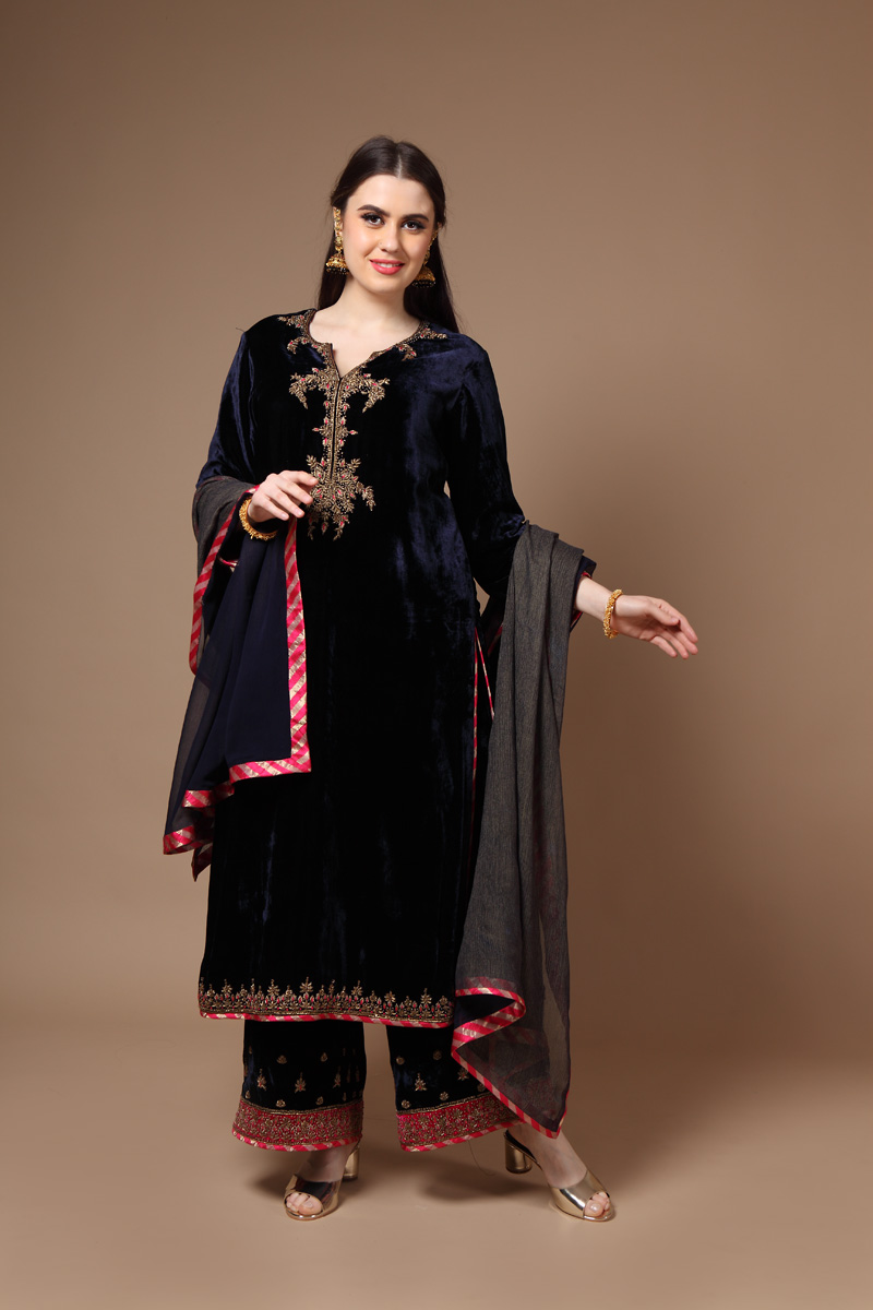pure-silk-velvet-hand-crafted-dark-blue-kurta-with-farshi-dupatta