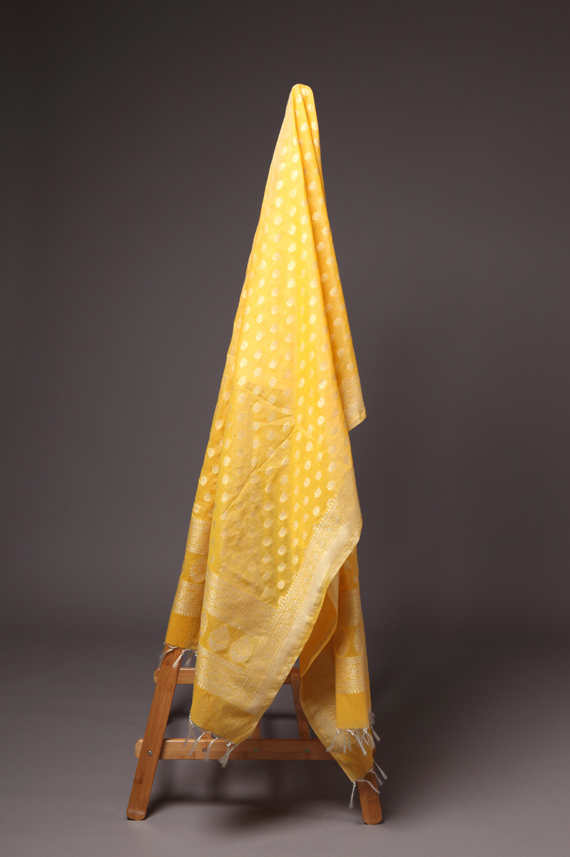 pure-hand-woven-benarasi-corn-yellow-cotton-silk-dupatta